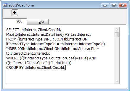 Screenshot of SQL to VBA form