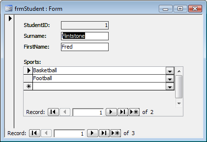 student form screenshot